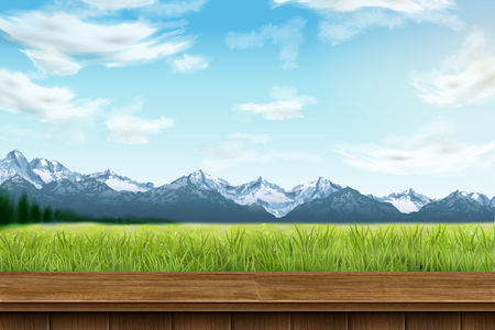 Natural background with mountain and green field in 3d illustration Illustration