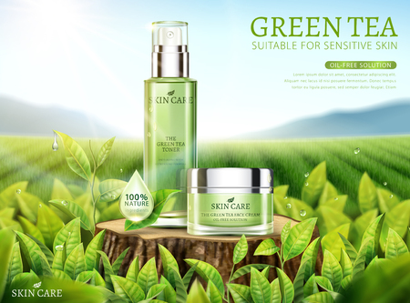 Green tea skincare ads with products placed on cut tree trunk in 3d illustration, bokeh tea garden background Ilustração