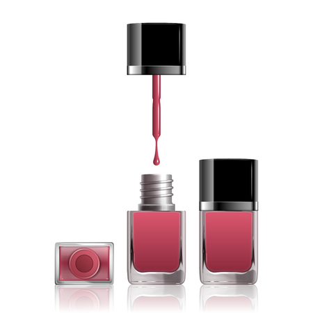 Pink nail lacquer mockup with dripping liquid on white background, 3d illustration
