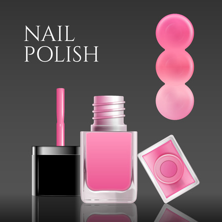 Pink nail lacquer mockup with color tone test, 3d illustration Illustration