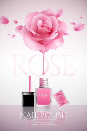 Fashion nail lacquer poster with glitter rose and petals flying in the air, 3d illustration Illustration