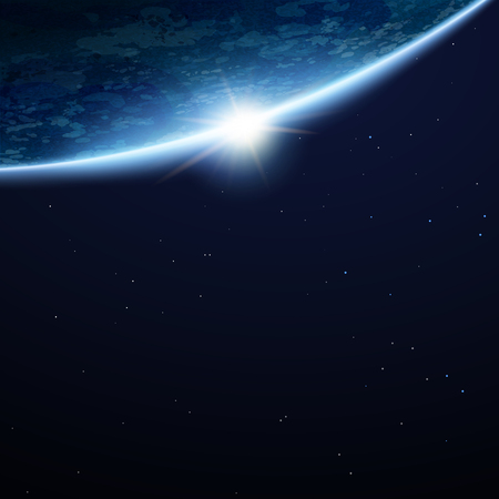 Beautiful space earth background with copy space and stars in 3d illustration