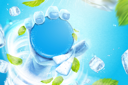 Frozen hand holding the blank product in the blizzard, flying ice cubes and mint leaves in 3d illustration