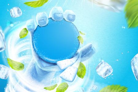Gefrorene Hand, die das leere Produkt im Schneesturm hält, fliegende Eiswürfel und Minzblätter in der 3D-Illustration