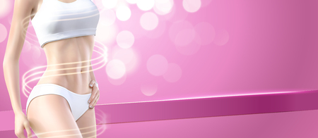 Fitness woman with swirling light in 3d illustration, pink bokeh background Иллюстрация