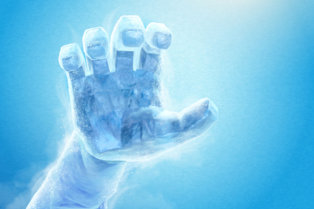 Frozen hand in 3d illustration on blue background, ice sculpture effect Illustration