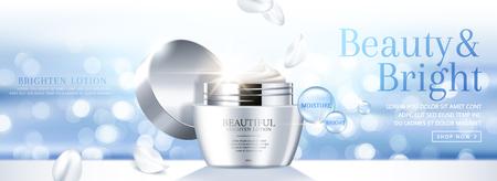 Moisture face cream banner ads on light blue bokeh glittering background in 3d illustration Banque d'images - 115054884