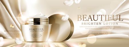 Elegant face cream banner ads on golden satin and glittering background, 3d illustration Ilustração