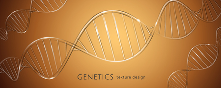 Clear DNA strand in glass texture on brown banner in 3d illustration