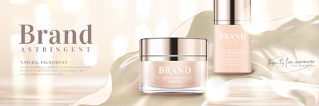 Skin care banner ads with product and satin element in 3d illustration, glittering bokeh background