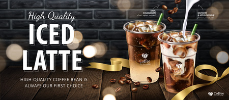 Iced latte banner ads in 3d illustration, coffee on wooden table