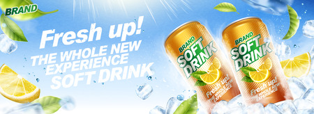 Refreshing soft drink banner ads with ice cubes and flying green leaves in 3d illustration