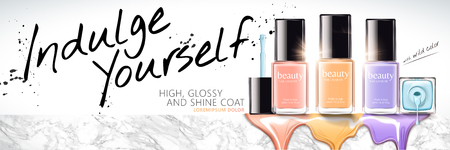 Colorful nail lacquer banner ads in 3d illustration with marble stone platform