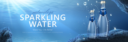Sparkling water banner ads with product under water in 3d illustration Illustration