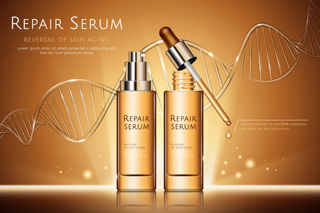 Repair serum ads with droplet bottles and glass texture DNA strand in 3d illustration