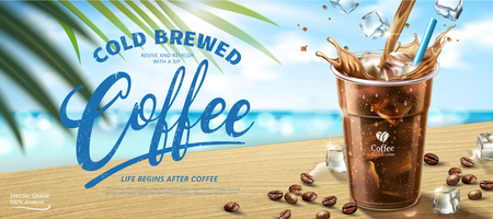 Cold brewed coffee banner ads in 3d illustration, summer beach bokeh background