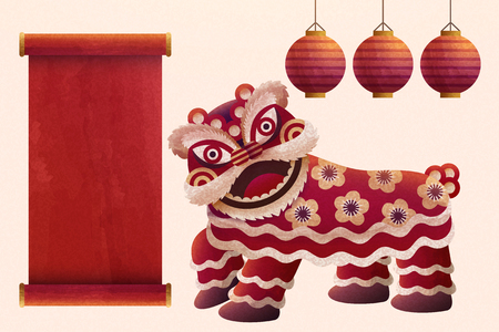 Chinese lion dance design elements with red lanterns in hand drawn style