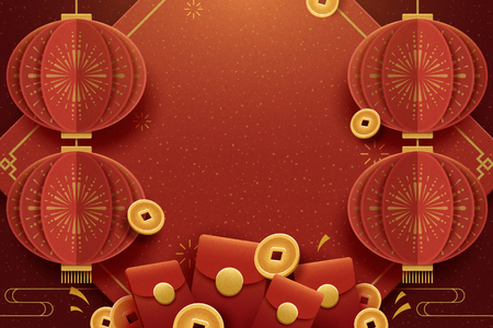 Poster di auguri di felice anno nuovo con lanterne appese, buste rosse ed elementi di monete fortunate, stile paper art Vettoriali