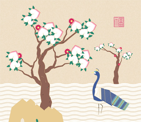 Peacock and peach tree traditional art, Chinese or Korean style illustration