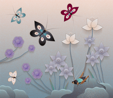 Beautiful floral garden with butterflies in paper art style