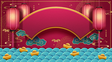 Traditional Chinese spring festival background with red lanterns, fan shaped plaque and wave pattern