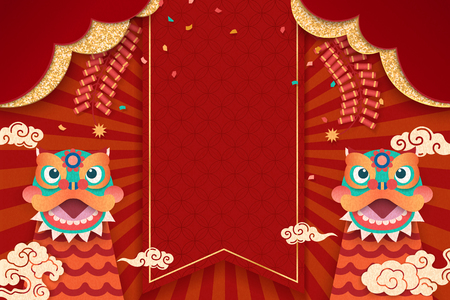 Happy New Year design with cute lion dances and firecrackers elements