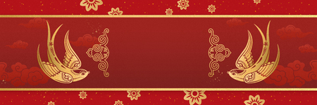 Lunar year banner design with gold swallow and flowers decorations