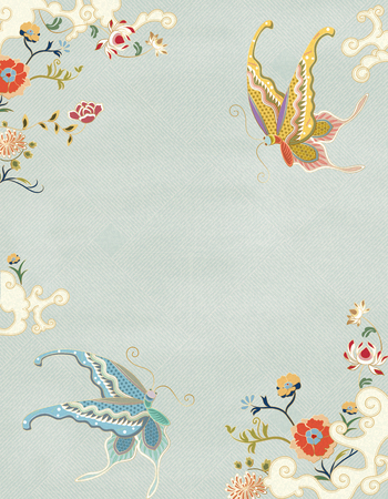 Elegant butterfly and floral decorative poster in blue tone