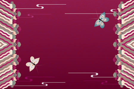 Elegant scarlet red background with butterfly and decorative frame