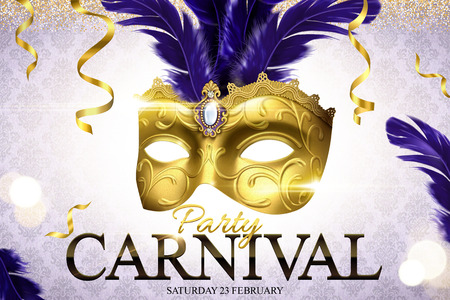 Carnival party design with golden mask in 3d illustration on glittering bokeh background