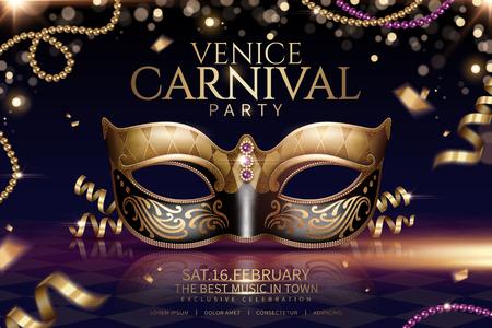 Diseño de glamour de carnaval de Venecia con hermosa máscara en ilustración 3d sobre fondo de partículas brillantes Ilustración de vector