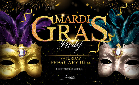 Mardi gras glittering design with masks and streamers in 3d illustration