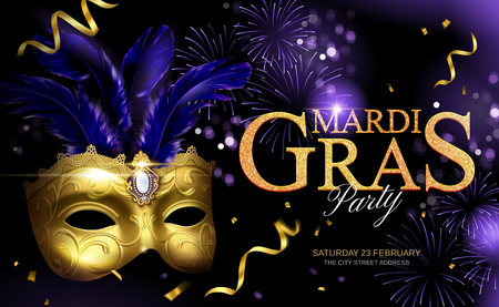 Mardi gras glittering design with golden mask and streamers on firework background in 3d illustration