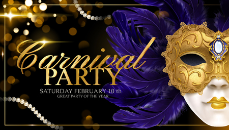 Carnival party banner template design with golden mask and feathers on glittering bokeh background in 3d illustration Ilustração