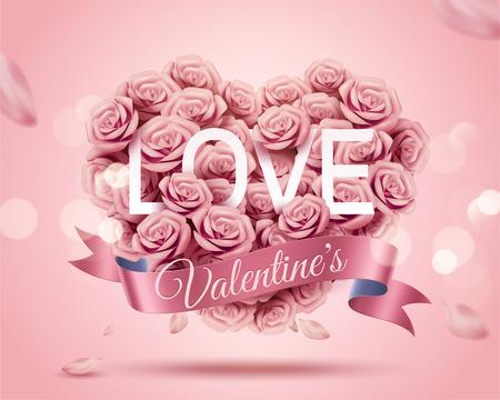 Modello romantico di San Valentino con bouquet a forma di cuore di rosa di carta in illustrazione 3d