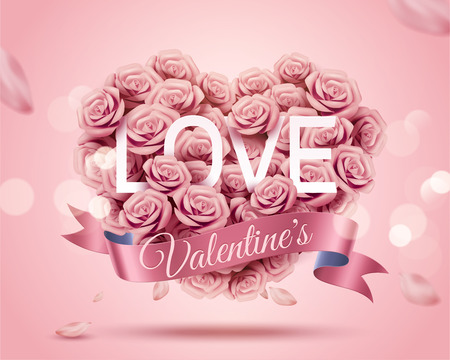 Romantic Valentine's Day template with paper rose heart shape bouquet in 3d illustration