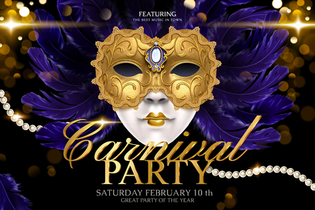 Carnival party template design with golden mask and feathers on glittering bokeh background in 3d illustration