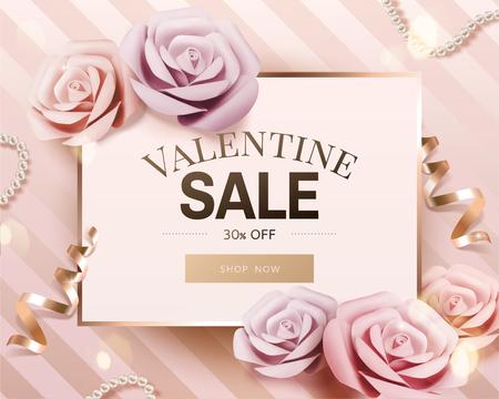 Romantischer Valentinstagsverkauf mit Papierrose und goldenem Streamer auf Streifenhintergrund in 3D-Darstellung Vektorgrafik