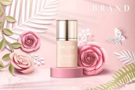 Foundation product advertenties met papieren bloemen tuin achtergrond in 3d illustratie