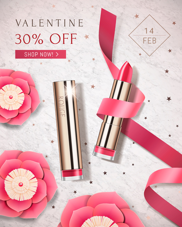 Happy Valentine's sale poster with paper flower and golden lipstick on marble stone background in 3d illustration