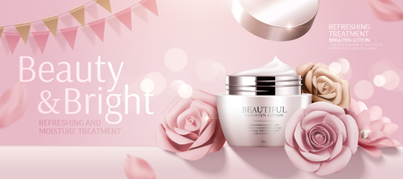 Romantic cosmetic cream banner ads with paper roses on bokeh pink background in 3d illustration Çizim