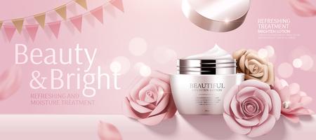 Romantische cosmetische crème banneradvertenties met papieren rozen op bokeh roze achtergrond in 3d illustratie Vector Illustratie
