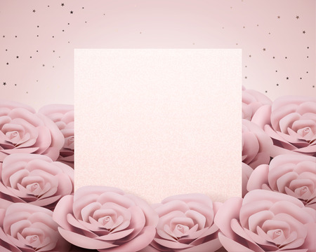 Baby pink paper rose card template in 3d illustration Ilustracja