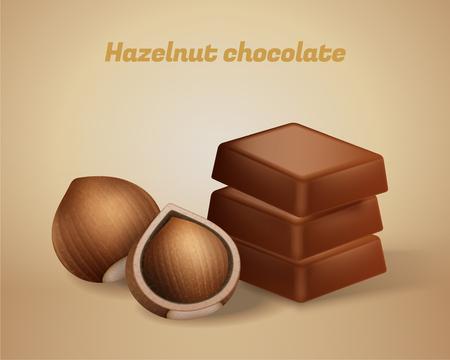 Hazelnut chocolate snacks with hard shelled nut Иллюстрация