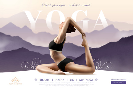 Woman practicing yoga on bokeh purple mountain in 3d illustration, Yoga course ads