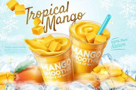 Annunci di frullato congelato di mango con frutta fresca e cubetti di ghiaccio in illustrazione 3d