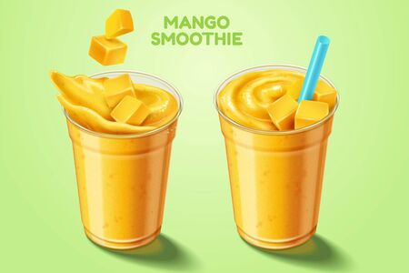 Mango smoothie   with fruit and straw in 3d illustration