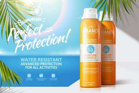 Sonnenspray-Anzeigen auf weißem Balkon mit grünen Palmblättern, 3D-Illustration Bokeh-Sommer-Ozean-Hintergrund