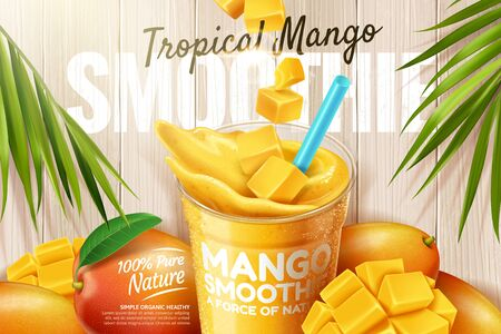 Mango smoothie ads with fresh fruit on wooden plate in 3d illustration Ilustrace