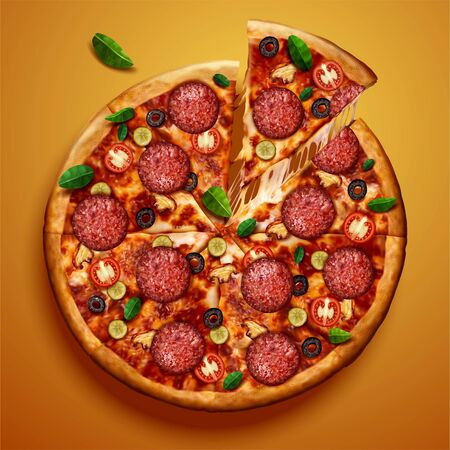 Top view of pepperoni pizza with stringy cheese on chrome yellow background in 3d illustration 向量圖像